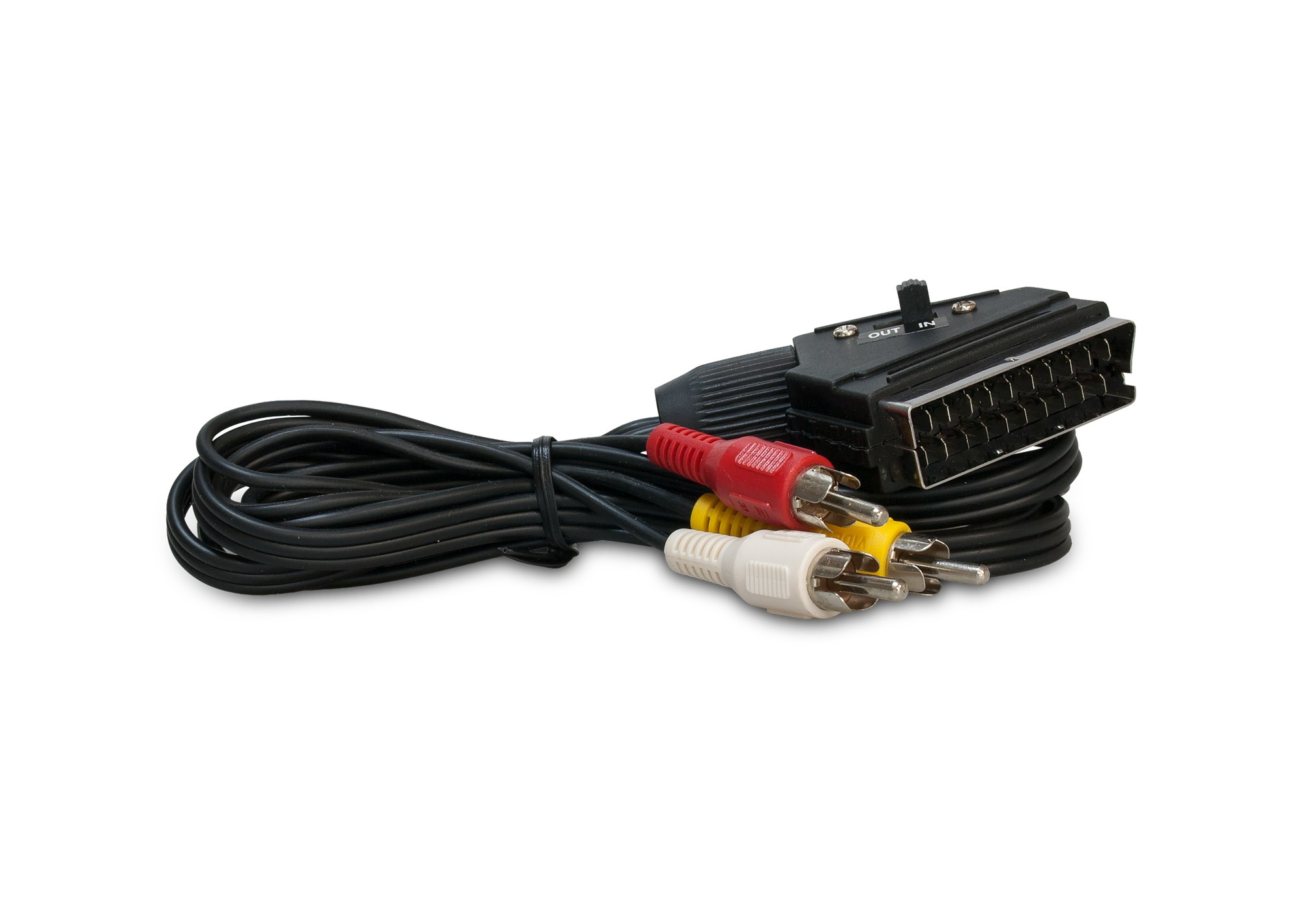 Kábel Scart-3xCinch s prepínačom