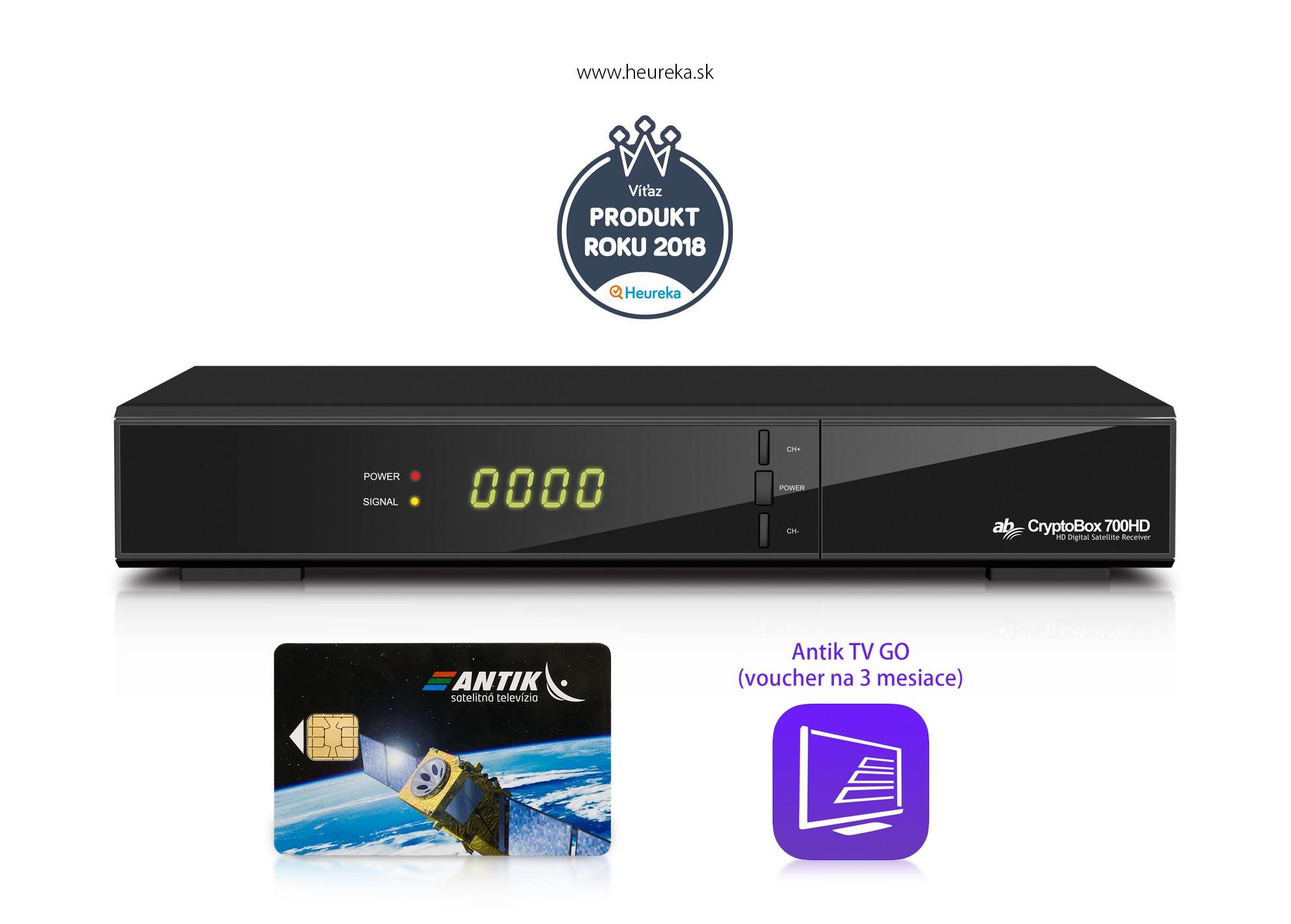 Zvýhodnený set AB CryptoBox 700HD+karta Antik+TV G