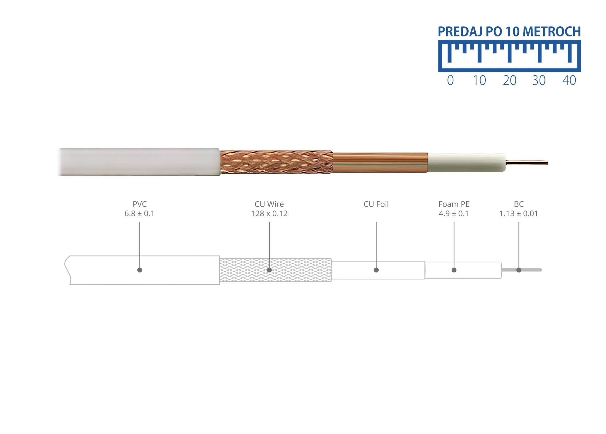 Kábel koaxiál AB RG6CU Profi metrážovaný