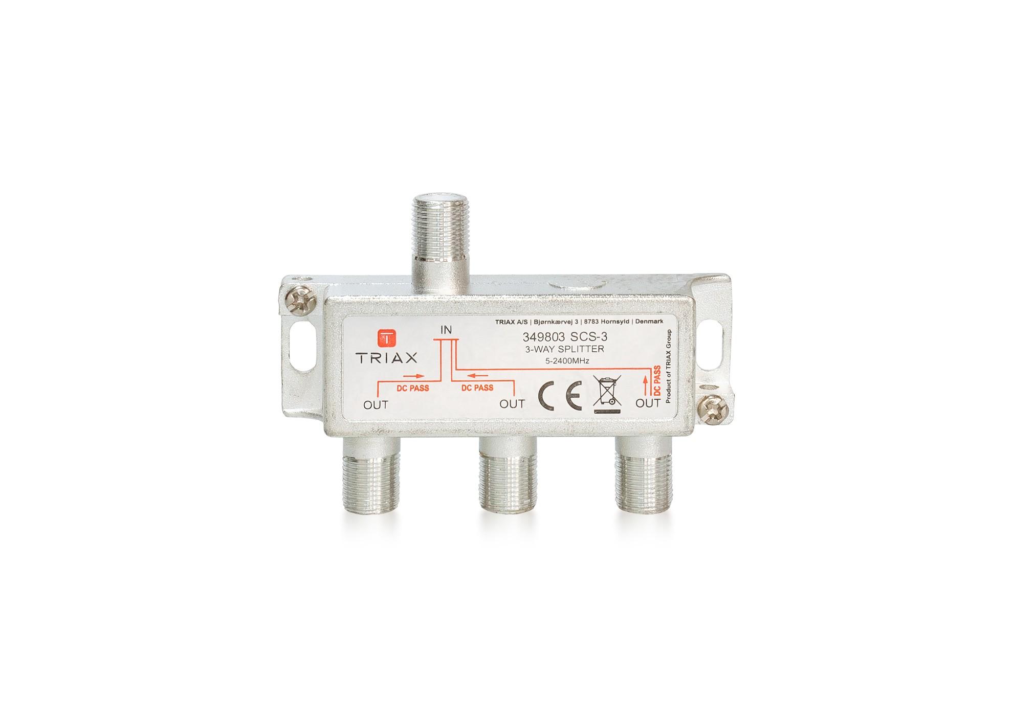 Rozbočovač 1-3 TRIAX SCS - 2 WAY 5-2400 MHz