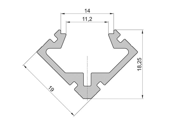 Lišta L BC15 45°/45° roh pre LED pásy, bronzova,1m