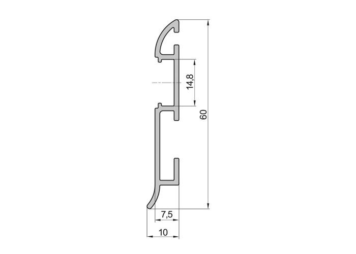 Lišta soklová SXC17 pre LED pásy,strieborná, 1m