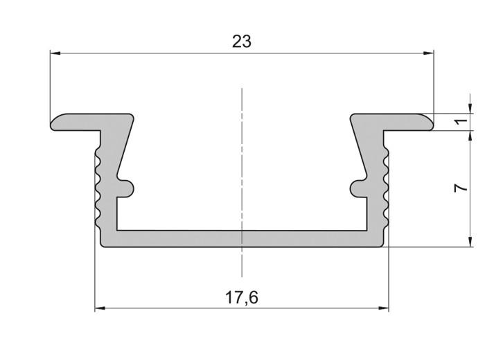 Lišta L XC03 pre LED pásy,strieborná,1m