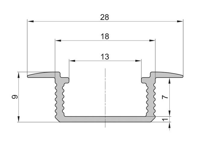Lišta L XC18 pre LED pásy,strieborná,1m